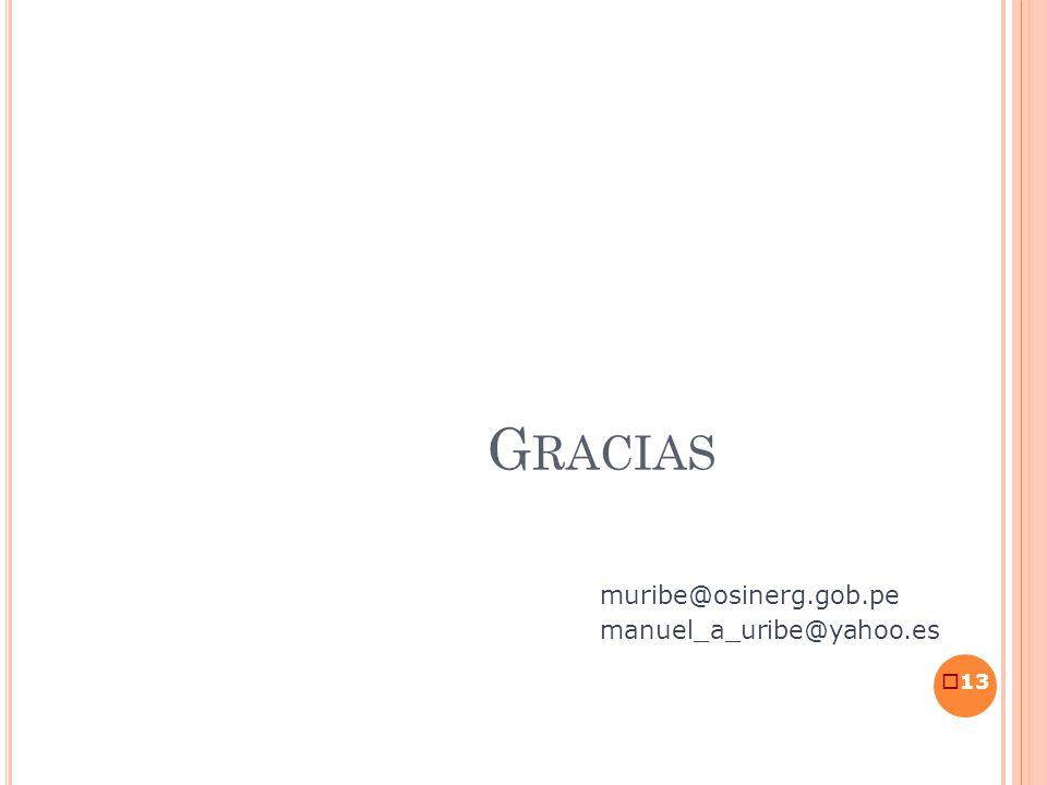 13 G RACIAS muribe@osinerg.gob.pe manuel_a_uribe@yahoo.es