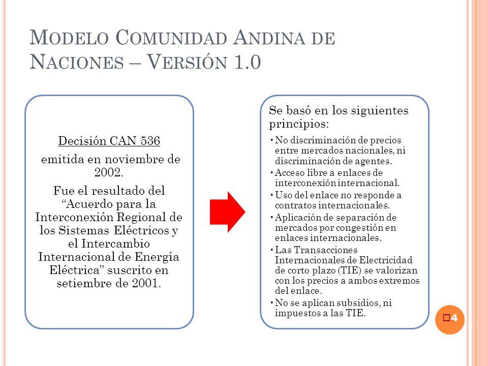 M ODELO C OMUNIDAD A NDINA DE N ACIONES – V ERSIÓN 1.0 4 Decisión CAN 536 emitida en noviembre de 2002. Fue el resultado del Acuerdo para la Intercone
