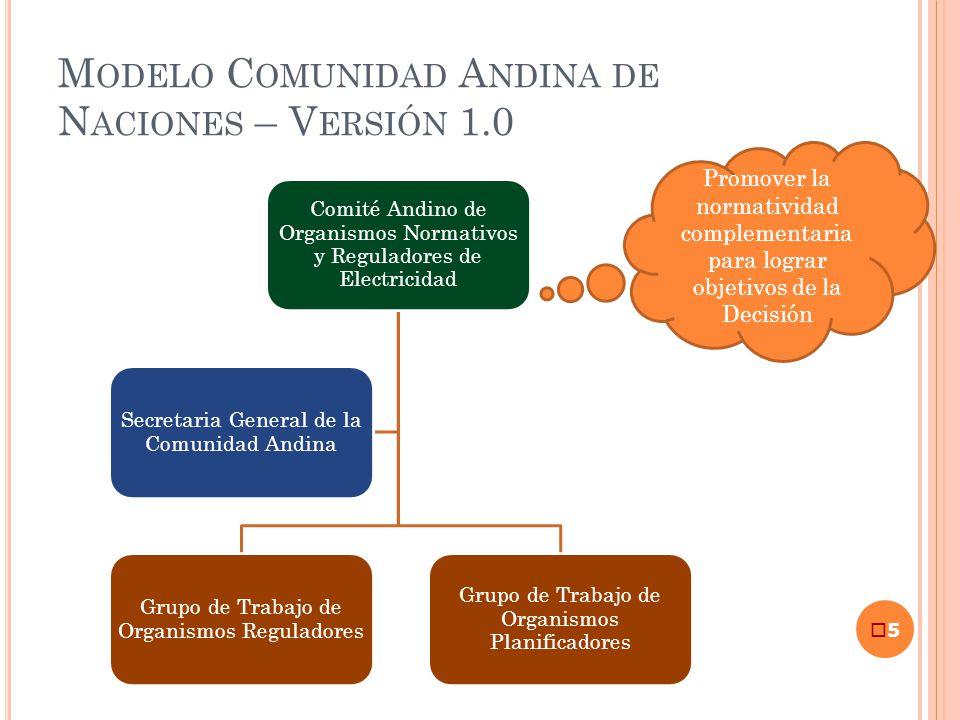 M ODELO C OMUNIDAD A NDINA DE N ACIONES – V ERSIÓN 1.0 5 Comité Andino de Organismos Normativos y Reguladores de Electricidad Grupo de Trabajo de Orga