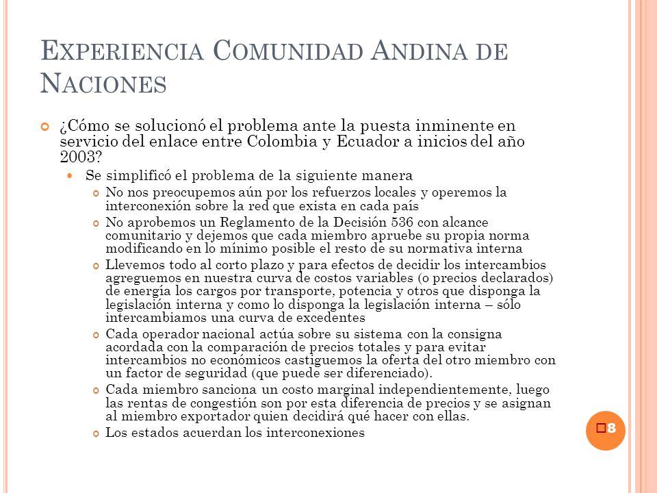 E XPERIENCIA C OMUNIDAD A NDINA DE N ACIONES ¿Cómo se solucionó el problema ante la puesta inminente en servicio del enlace entre Colombia y Ecuador a