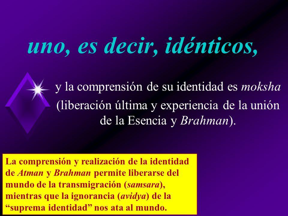 uno, es decir, idénticos, y la comprensión de su identidad es moksha (liberación última y experiencia de la unión de la Esencia y Brahman).