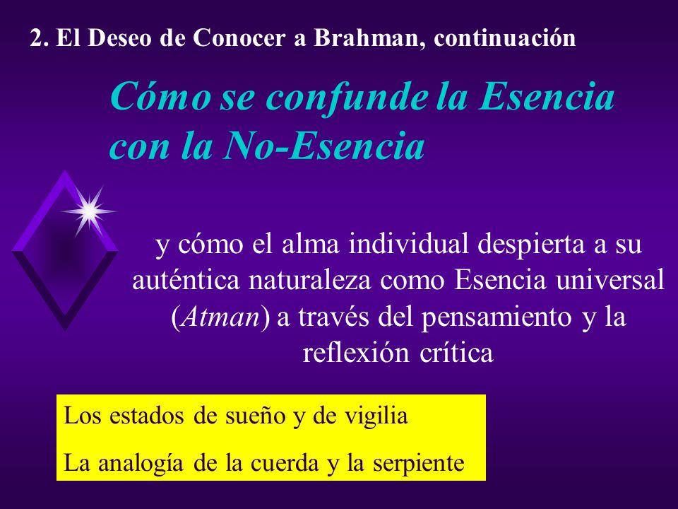 Cómo se confunde la Esencia con la No-Esencia y cómo el alma individual despierta a su auténtica naturaleza como Esencia universal (Atman) a través del pensamiento y la reflexión crítica 2.