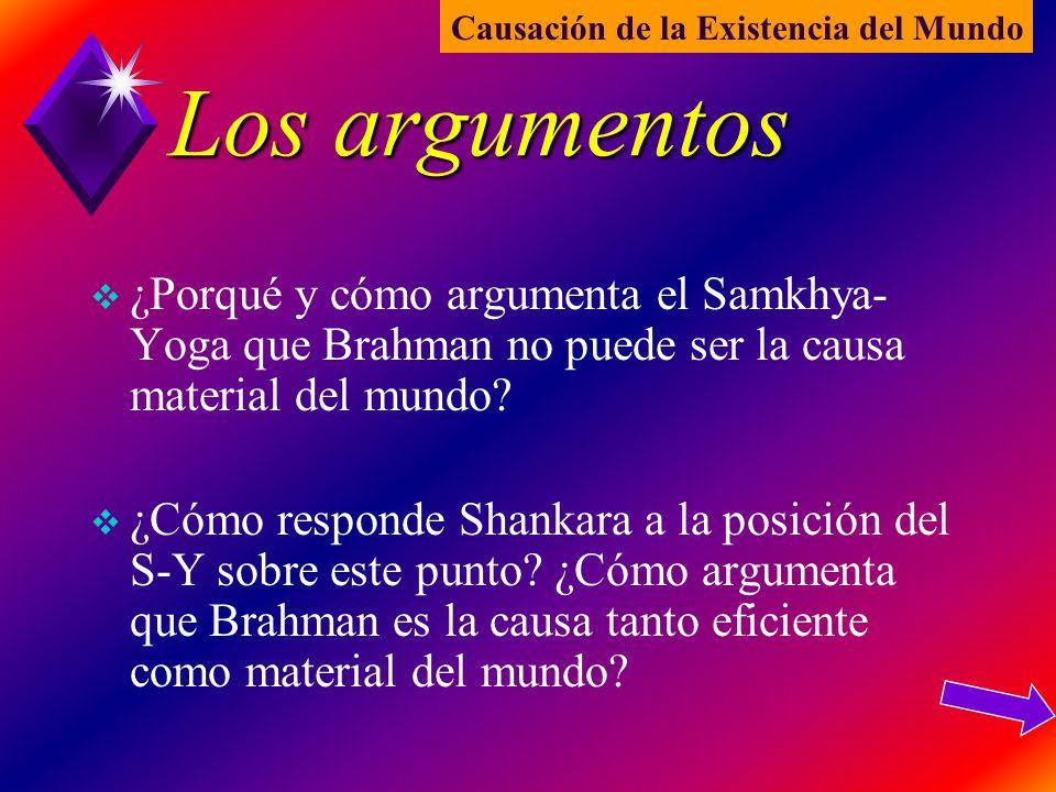 Los argumentos ¿Porqué y cómo argumenta el Samkhya- Yoga que Brahman no puede ser la causa material del mundo? ¿Cómo responde Shankara a la posición d
