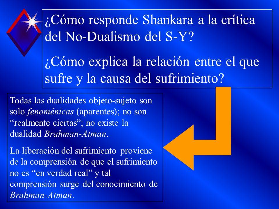 ¿Cómo responde Shankara a la crítica del No-Dualismo del S-Y? ¿Cómo explica la relación entre el que sufre y la causa del sufrimiento? Todas las duali
