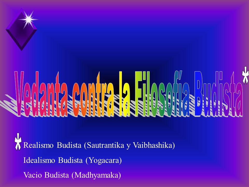 Realismo Budista (Sautrantika y Vaibhashika) Idealismo Budista (Yogacara) Vacio Budista (Madhyamaka)