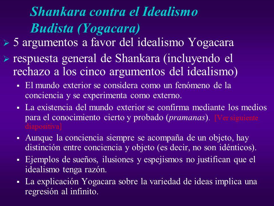 Shankara contra el Idealismo Budista (Yogacara) 5 argumentos a favor del idealismo Yogacara respuesta general de Shankara (incluyendo el rechazo a los cinco argumentos del idealismo) El mundo exterior se considera como un fenómeno de la conciencia y se experimenta como externo.