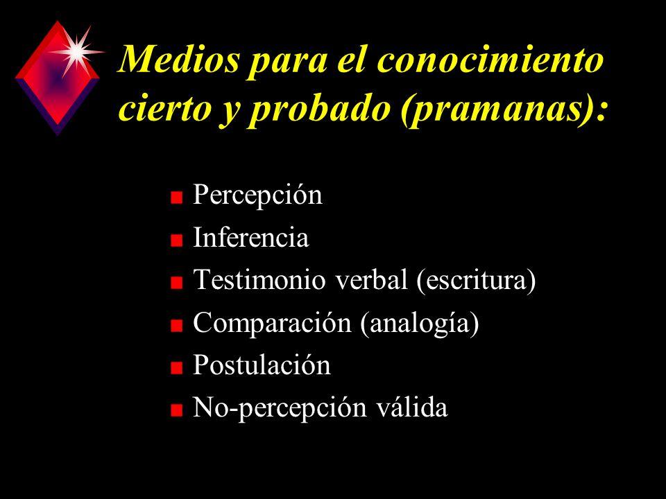 Medios para el conocimiento cierto y probado (pramanas): Percepción Inferencia Testimonio verbal (escritura) Comparación (analogía) Postulación No-percepción válida