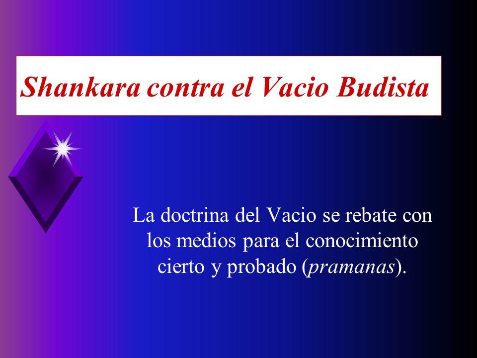 Shankara contra el Vacio Budista La doctrina del Vacio se rebate con los medios para el conocimiento cierto y probado (pramanas).