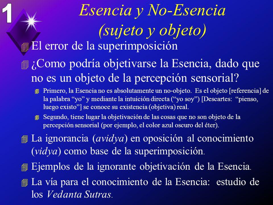 Esencia y No-Esencia (sujeto y objeto) 4 El error de la superimposición 4 ¿Como podría objetivarse la Esencia, dado que no es un objeto de la percepción sensorial.