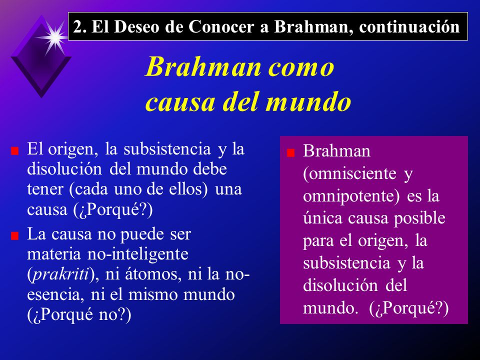 Brahman como causa del mundo El origen, la subsistencia y la disolución del mundo debe tener (cada uno de ellos) una causa (¿Porqué?) La causa no puede ser materia no-inteligente (prakriti), ni átomos, ni la no- esencia, ni el mismo mundo (¿Porqué no?) Brahman (omnisciente y omnipotente) es la única causa posible para el origen, la subsistencia y la disolución del mundo.