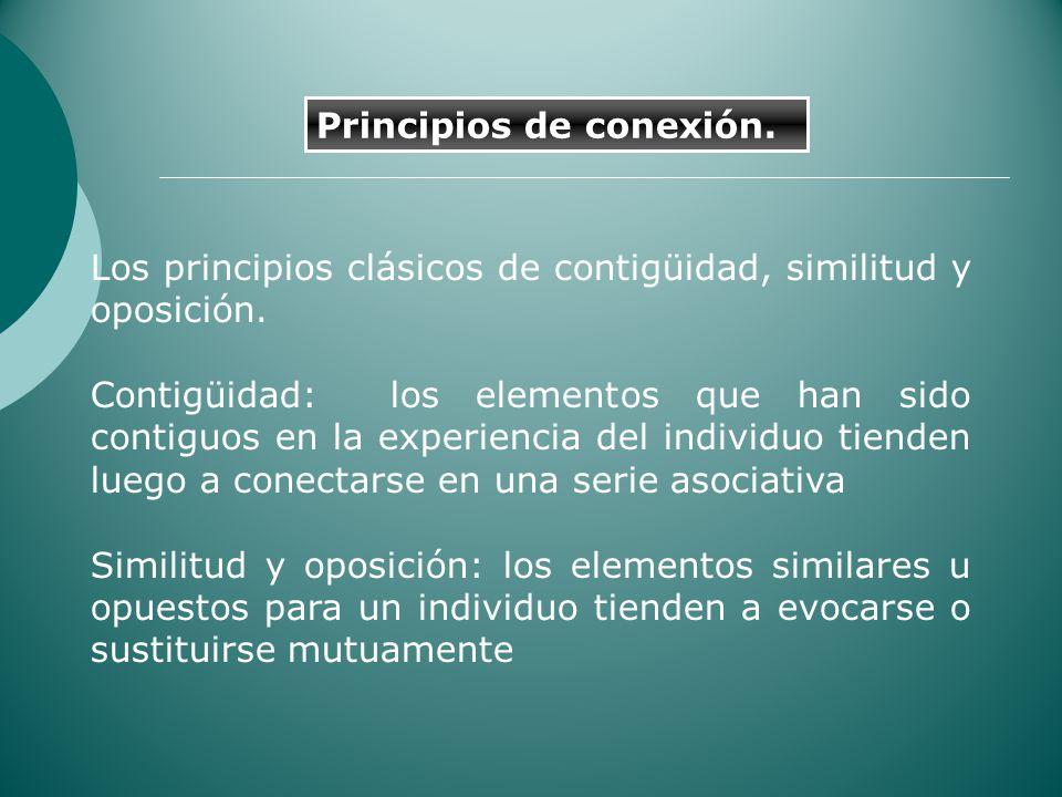 Los principios clásicos de contigüidad, similitud y oposición. Contigüidad: los elementos que han sido contiguos en la experiencia del individuo tiend