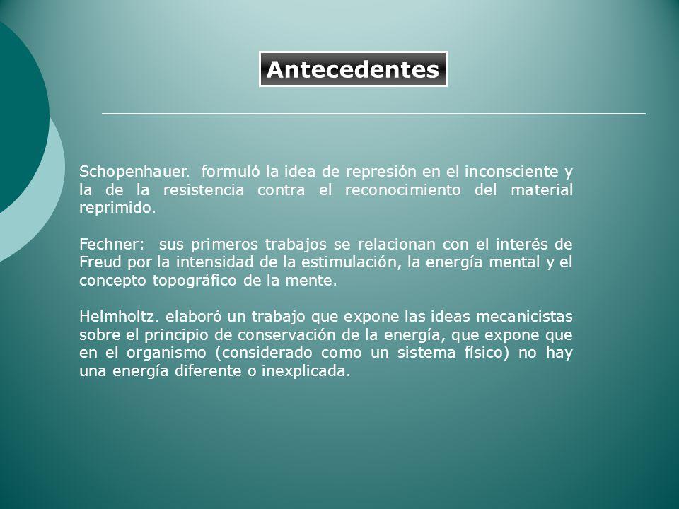Schopenhauer. formuló la idea de represión en el inconsciente y la de la resistencia contra el reconocimiento del material reprimido. Fechner: sus pri