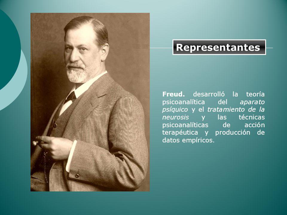 Freud. desarrolló la teoría psicoanalítica del aparato psíquico y el tratamiento de la neurosis y las técnicas psicoanalíticas de acción terapéutica y