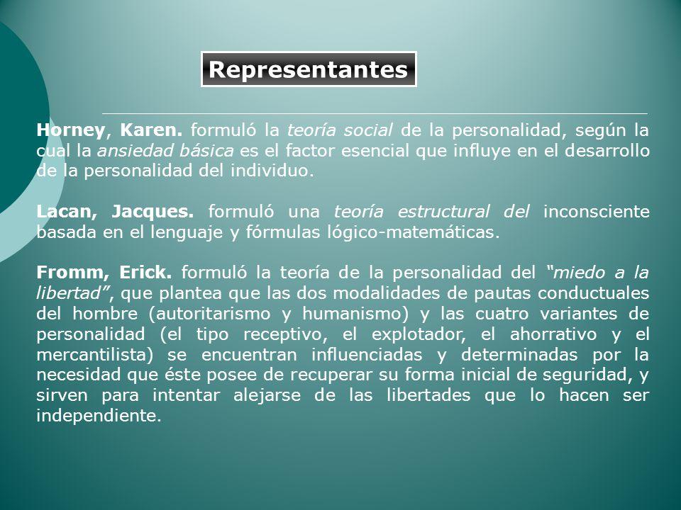 Horney, Karen. formuló la teoría social de la personalidad, según la cual la ansiedad básica es el factor esencial que influye en el desarrollo de la