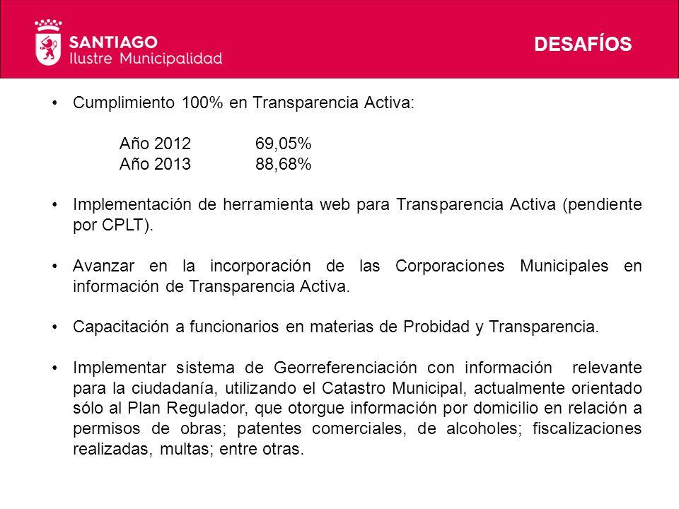 DESAFÍOS Cumplimiento 100% en Transparencia Activa: Año 201269,05% Año 201388,68% Implementación de herramienta web para Transparencia Activa (pendiente por CPLT).