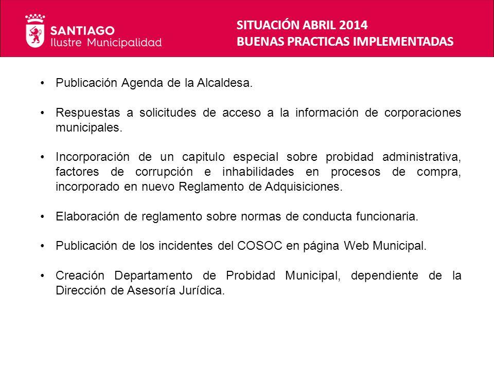 SITUACIÓN ABRIL 2014 BUENAS PRACTICAS IMPLEMENTADAS Publicación Agenda de la Alcaldesa. Respuestas a solicitudes de acceso a la información de corpora