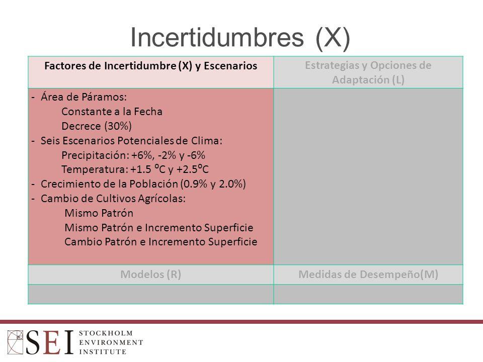 Incertidumbres (X) Factores de Incertidumbre (X) y EscenariosEstrategias y Opciones de Adaptación (L) -Área de Páramos: Constante a la Fecha Decrece (30%) -Seis Escenarios Potenciales de Clima: Precipitación: +6%, -2% y -6% Temperatura: +1.5 C y +2.5C -Crecimiento de la Población (0.9% y 2.0%) -Cambio de Cultivos Agrícolas: Mismo Patrón Mismo Patrón e Incremento Superficie Cambio Patrón e Incremento Superficie Modelos (R)Medidas de Desempeño(M)