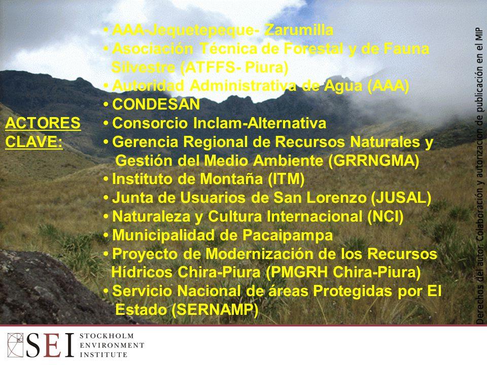 AAA-Jequetepeque- Zarumilla Asociación Técnica de Forestal y de Fauna Silvestre (ATFFS- Piura) Autoridad Administrativa de Agua (AAA) CONDESAN ACTORES Consorcio Inclam-Alternativa CLAVE: Gerencia Regional de Recursos Naturales y Gestión del Medio Ambiente (GRRNGMA) Instituto de Montaña (ITM) Junta de Usuarios de San Lorenzo (JUSAL) Naturaleza y Cultura Internacional (NCI) Municipalidad de Pacaipampa Proyecto de Modernización de los Recursos Hídricos Chira-Piura (PMGRH Chira-Piura) Servicio Nacional de áreas Protegidas por El Estado (SERNAMP)
