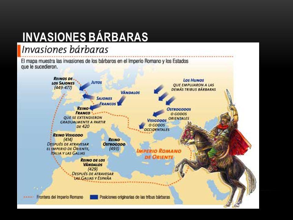 INVASIONES GERMANAS Pacífica: ingreso de los germanos en el ejército y como labriegos de las tierras de los romanos.