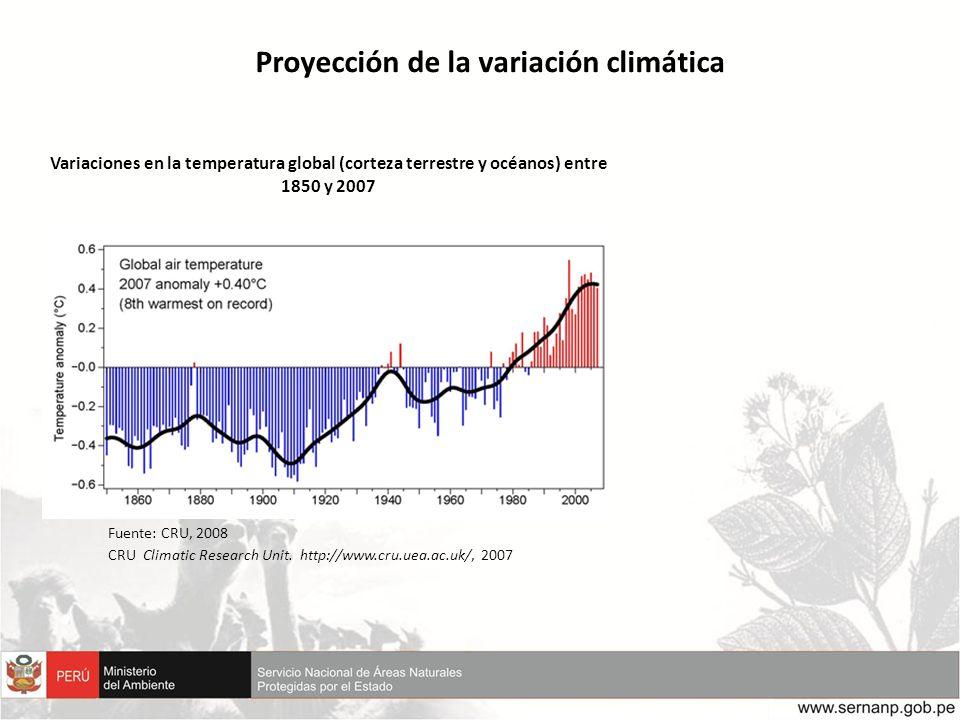Variaciones en la temperatura global (corteza terrestre y océanos) entre 1850 y 2007 Proyección de la variación climática Fuente: CRU, 2008 CRU Climat