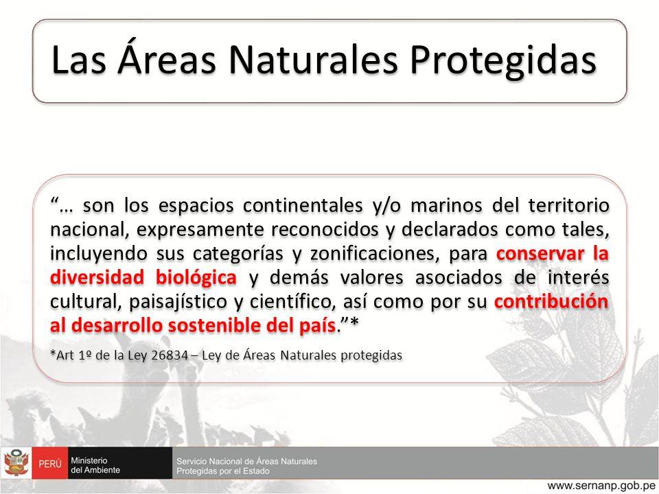 Las Áreas Naturales Protegidas … son los espacios continentales y/o marinos del territorio nacional, expresamente reconocidos y declarados como tales,