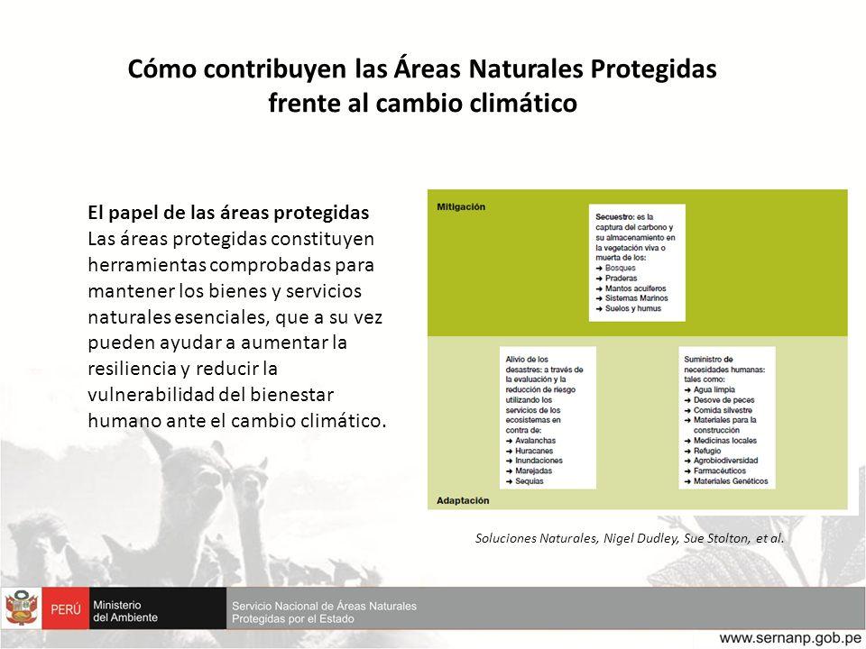 Cómo contribuyen las Áreas Naturales Protegidas frente al cambio climático El papel de las áreas protegidas Las áreas protegidas constituyen herramien