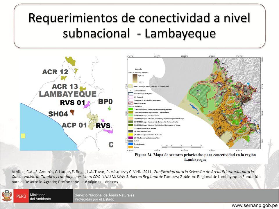 Requerimientos de conectividad a nivel subnacional - Lambayeque Arnillas, C.A., S. Amorós, C. Luque, F. Regal, L.A. Tovar, P. Vásquez y C. Véliz. 2011