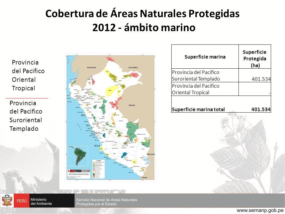 Cobertura de Áreas Naturales Protegidas 2012 - ámbito marino Superficie marina Superficie Protegida (ha) Provincia del Pacifico Suroriental Templado 4