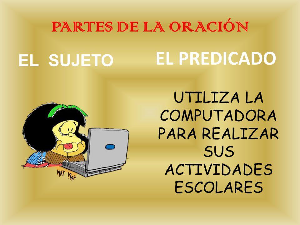 PARTES DE LA ORACIÓN EL SUJETO EL PREDICADO UTILIZA LA COMPUTADORA PARA REALIZAR SUS ACTIVIDADES ESCOLARES