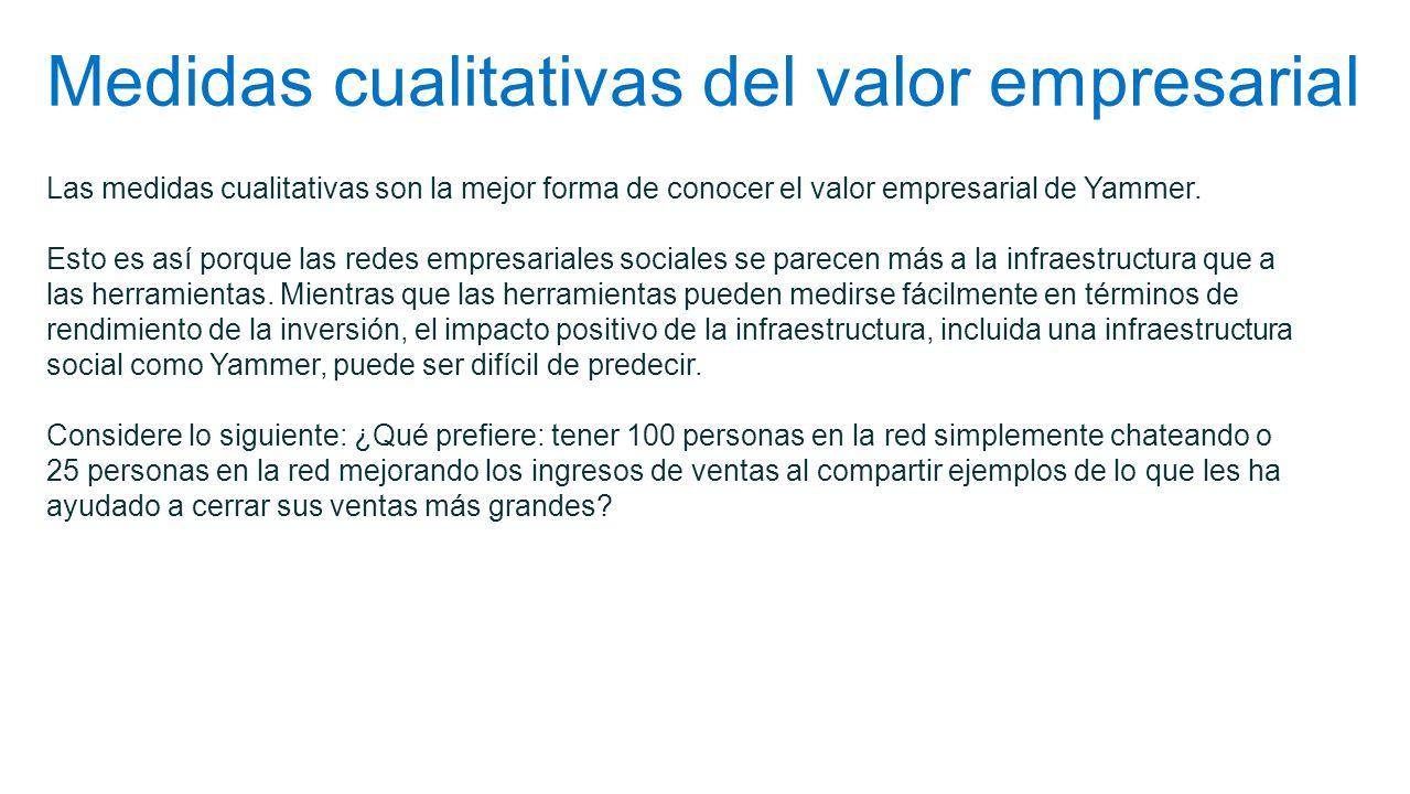 Medidas cualitativas del valor empresarial Las medidas cualitativas son la mejor forma de conocer el valor empresarial de Yammer. Esto es así porque l