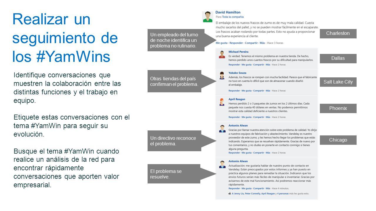 Realizar un seguimiento de los #YamWins Identifique conversaciones que muestren la colaboración entre las distintas funciones y el trabajo en equipo.