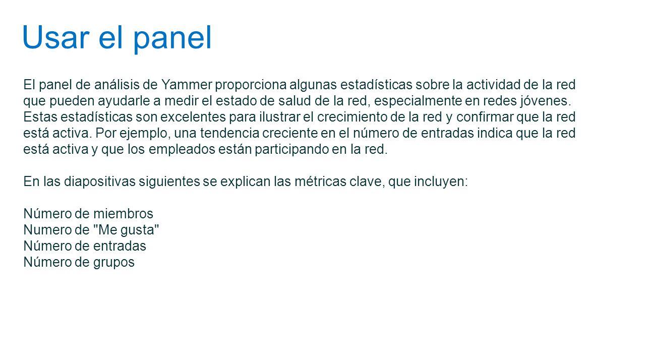 Usar el panel El panel de análisis de Yammer proporciona algunas estadísticas sobre la actividad de la red que pueden ayudarle a medir el estado de sa
