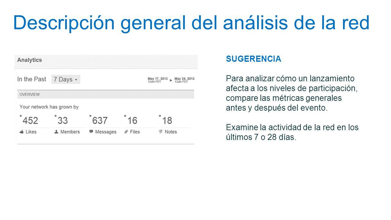 Descripción general del análisis de la red SUGERENCIA Para analizar cómo un lanzamiento afecta a los niveles de participación, compare las métricas ge