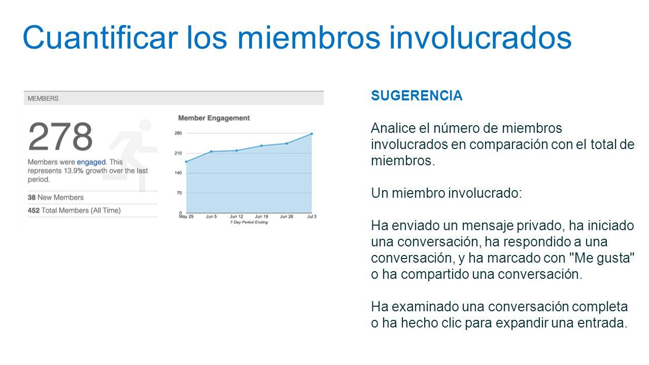 Cuantificar los miembros involucrados SUGERENCIA Analice el número de miembros involucrados en comparación con el total de miembros. Un miembro involu