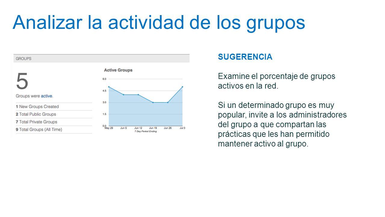 Analizar la actividad de los grupos SUGERENCIA Examine el porcentaje de grupos activos en la red. Si un determinado grupo es muy popular, invite a los