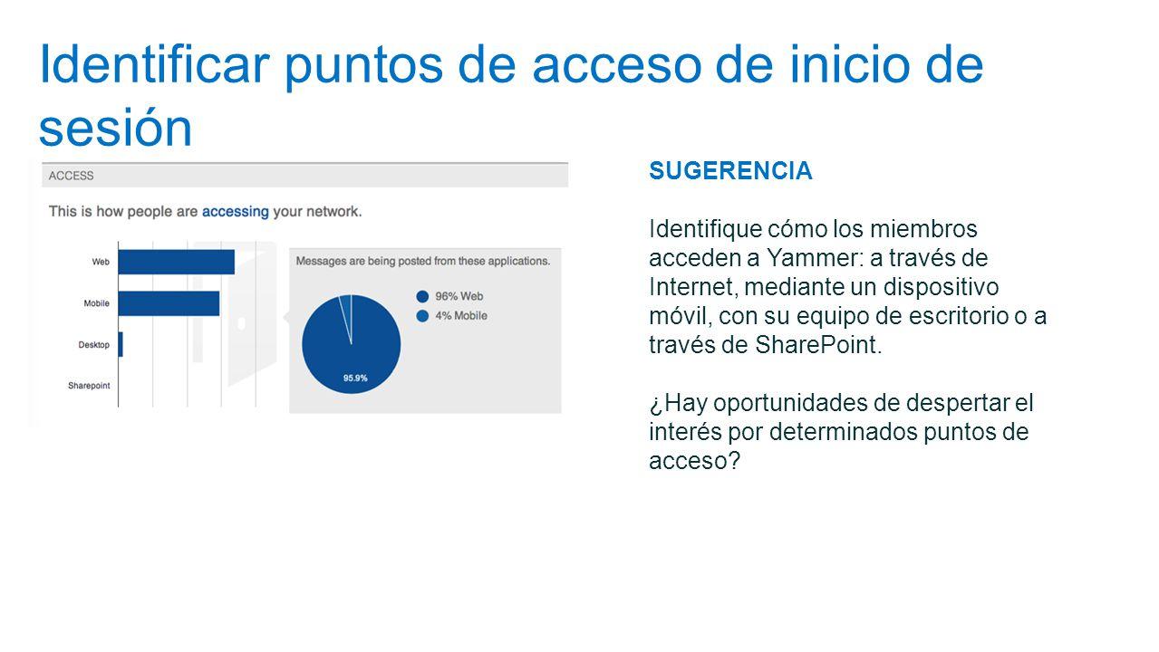 Identificar puntos de acceso de inicio de sesión SUGERENCIA Identifique cómo los miembros acceden a Yammer: a través de Internet, mediante un disposit