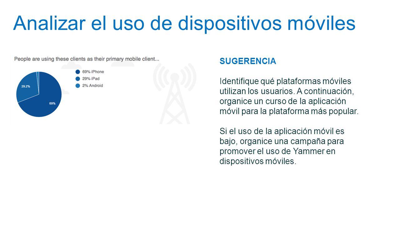 Analizar el uso de dispositivos móviles SUGERENCIA Identifique qué plataformas móviles utilizan los usuarios. A continuación, organice un curso de la