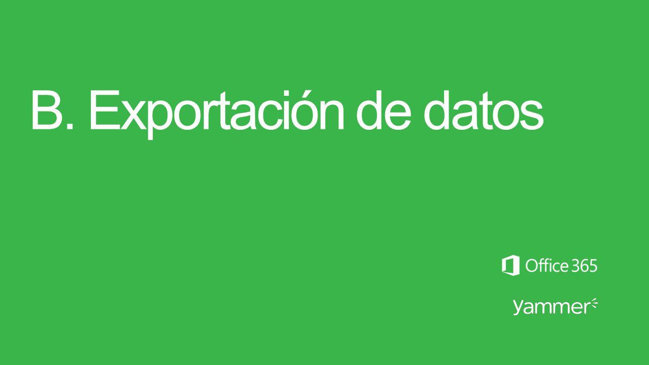 B. Exportación de datos