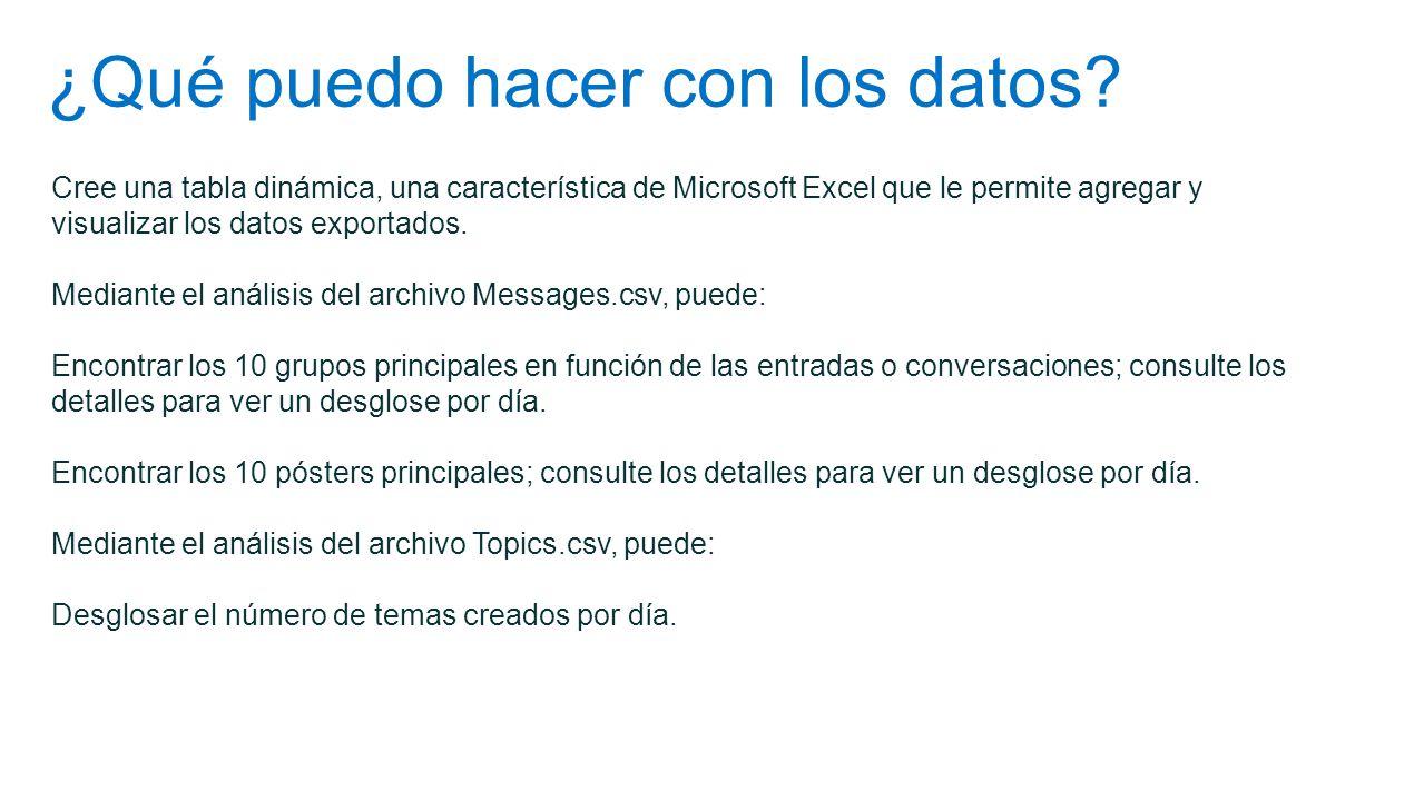 ¿Qué puedo hacer con los datos? Cree una tabla dinámica, una característica de Microsoft Excel que le permite agregar y visualizar los datos exportado