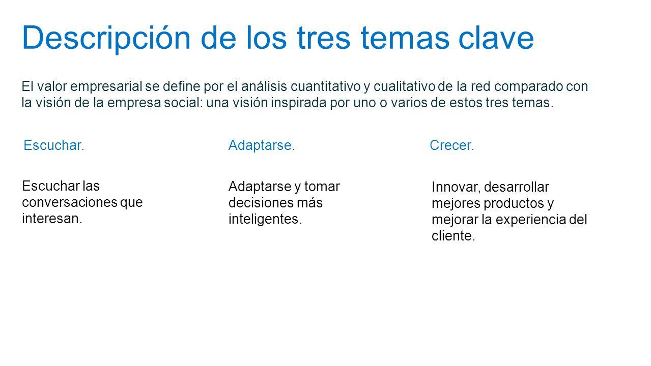Descripción de los tres temas clave El valor empresarial se define por el análisis cuantitativo y cualitativo de la red comparado con la visión de la