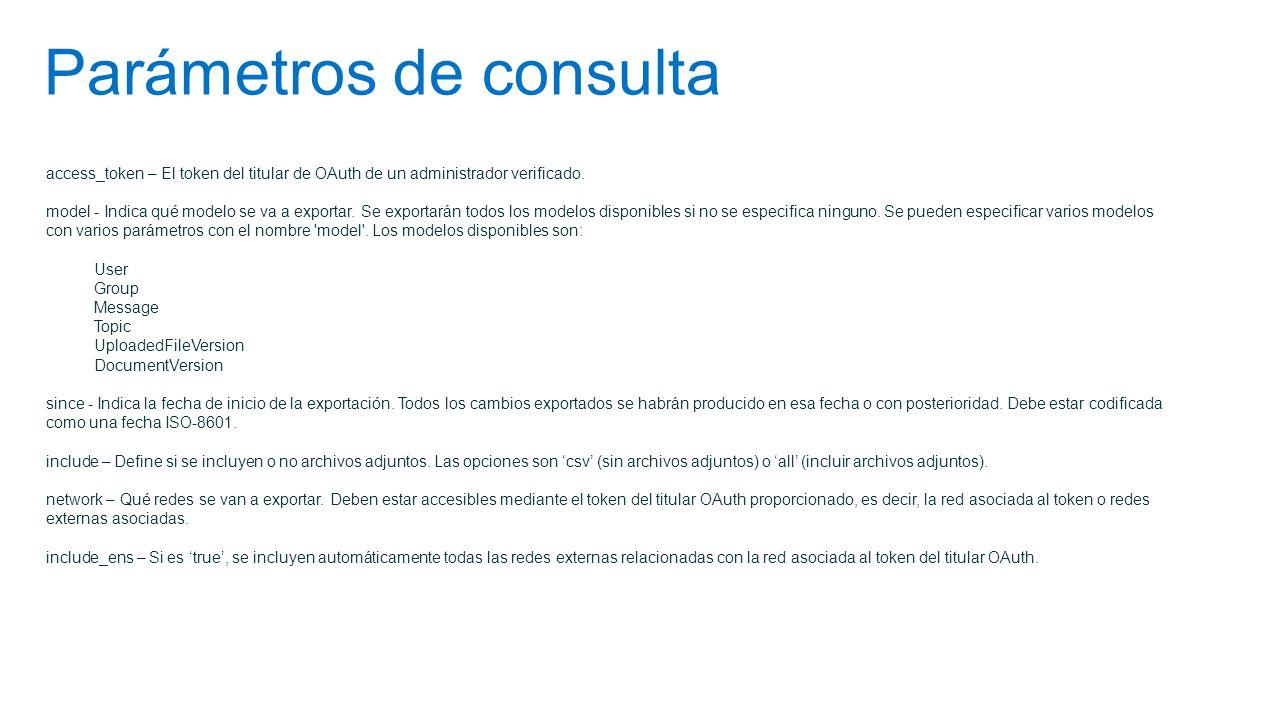 Parámetros de consulta access_token – El token del titular de OAuth de un administrador verificado. model - Indica qué modelo se va a exportar. Se exp