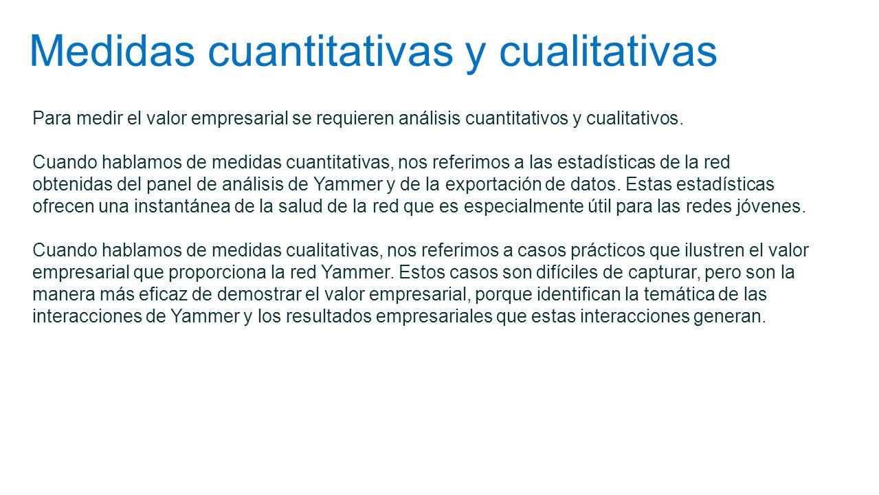 Medidas cuantitativas y cualitativas Para medir el valor empresarial se requieren análisis cuantitativos y cualitativos. Cuando hablamos de medidas cu