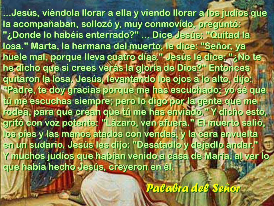 Del Evangelio de San Juan 11, 1-45 En aquel tiempo, un cierto Lázaro, de Betania, la aldea de María y de Marta, su hermana, había caído enfermo. María