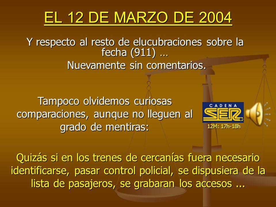12M: 21h-22h MENTIRA Nº 8: LA CLAVE ESTÁ EN LA FECHA 13M: 11h-12h EL 13 DE MARZO DE 2004 ¿Y si las elecciones hubieran sido el 10M.