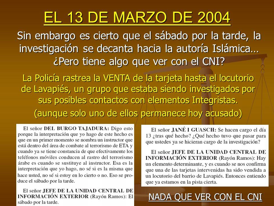 EL 13 DE MARZO DE 2004 MENTIRA 12.- ¿El CNI había ya descartado a ETA el Sábado al mediodía.