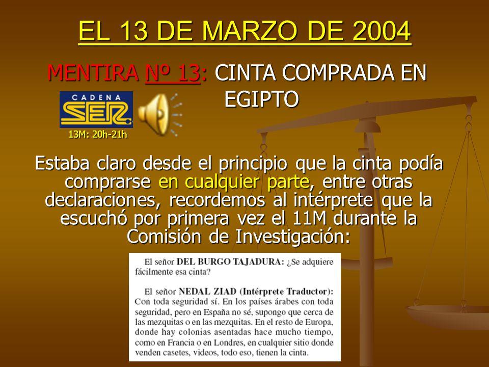 EL 13 DE MARZO DE 2004 Pero, ¿significa esto que ya no existían dudas respecto a la autoría (al 99%), como dice la SER?.
