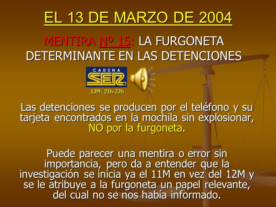 EL 13 DE MARZO DE 2004 Y también en la Comisión: MENTIRA Nº 14: ETA NO SABÍA HACER LAS BOMBAS 13M: 20h-21h 12M: 17h-18h Ni la bomba de la mochila/bolsa era tan compleja, ni hubiera sido la primera vez que ETA utiliza teléfonos móviles para detonar explosivos.
