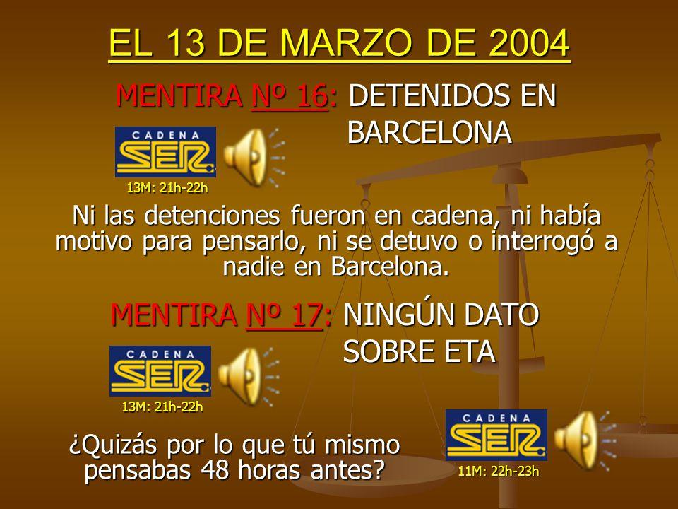 EL 13 DE MARZO DE 2004 Las detenciones se producen por el teléfono y su tarjeta encontrados en la mochila sin explosionar, NO por la furgoneta.