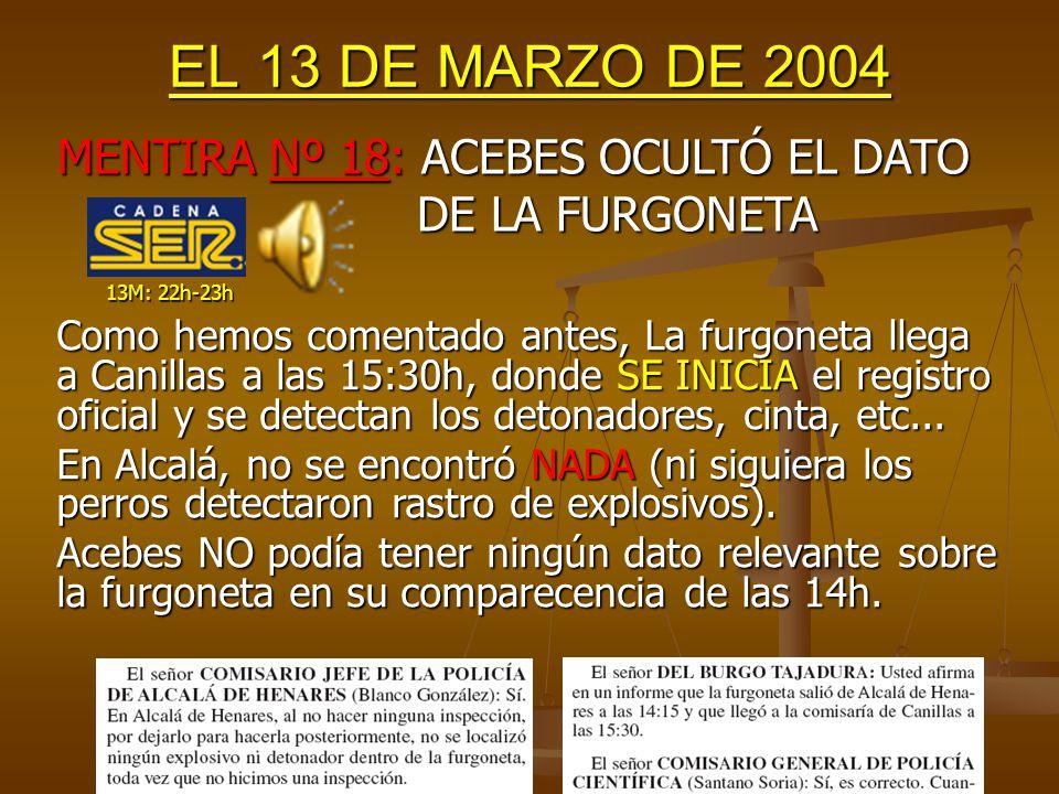 EL 13 DE MARZO DE 2004 Ni las detenciones fueron en cadena, ni había motivo para pensarlo, ni se detuvo o interrogó a nadie en Barcelona.