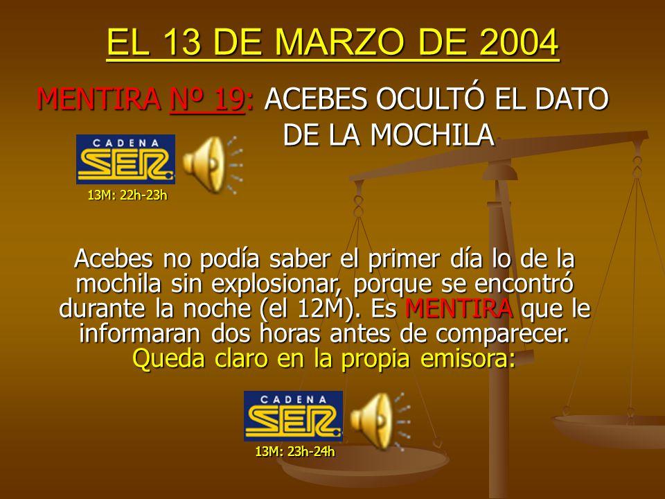 EL 13 DE MARZO DE 2004 Como hemos comentado antes, La furgoneta llega a Canillas a las 15:30h, donde SE INICIA el registro oficial y se detectan los detonadores, cinta, etc...
